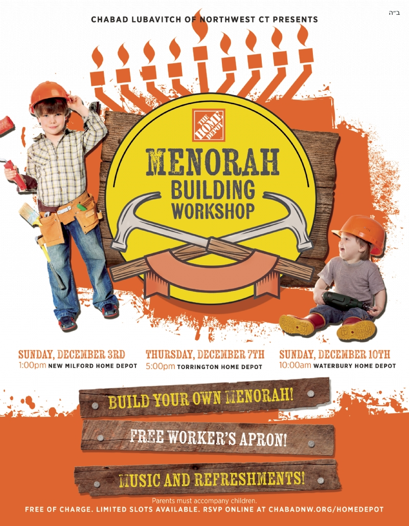 Home depot menorah workshop event reservations chabad lubavitch surrounded by piles of lumber the smell of sawdust and the bustle of the large hardware store kids will create do it yourself chanukah menorahs out of solutioingenieria Gallery